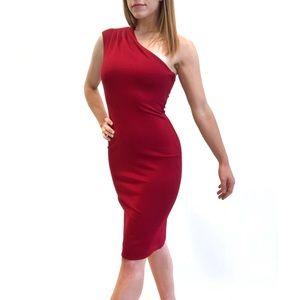 Dress the Population Quinn One-Shoulder Dress Red